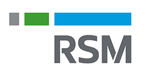 "The letters ""RSM"" below a line divided into three gray, green, and blue sections."