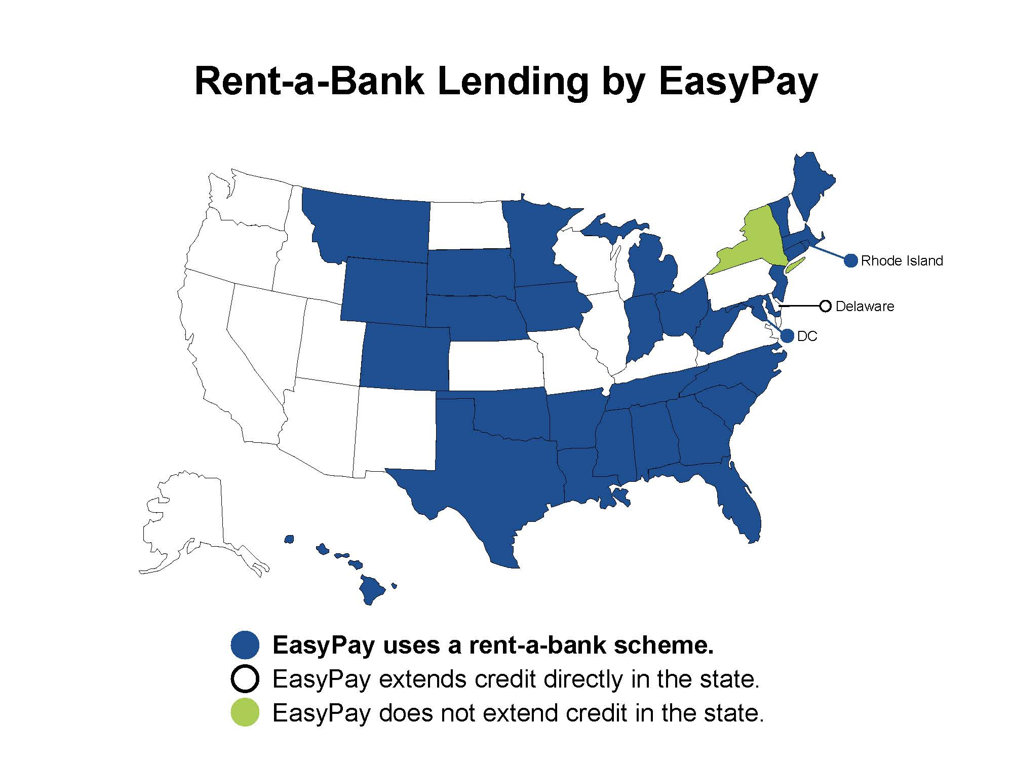 Map of the U.S. in which the states that EasyPay use rent-a-bank schemes to avoid state rate caps are colored in blue. States in which EasyPay directly lends are white, while the states in which the organization does not lend are in green.