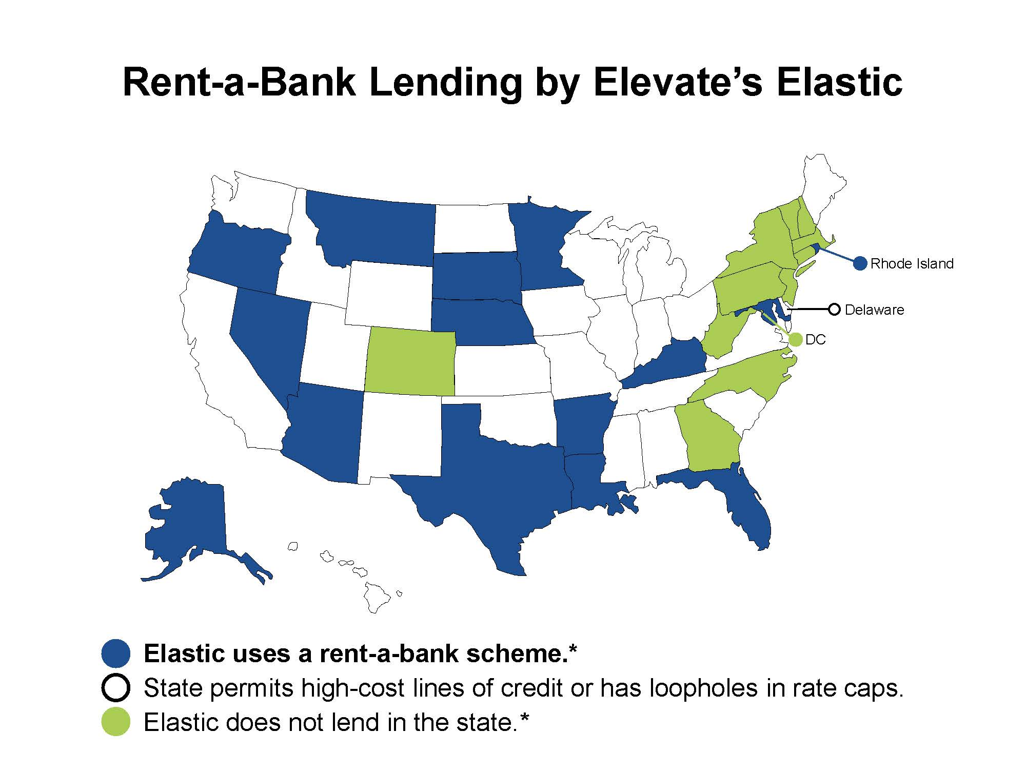 Map of the U.S. in which the states that Elevate's Elastic uses rent-a-bank schemes to avoid state rate caps are colored in blue. States in which Elevate's Elastic directly lends are white, while the states in which the organization does not lend are in green.