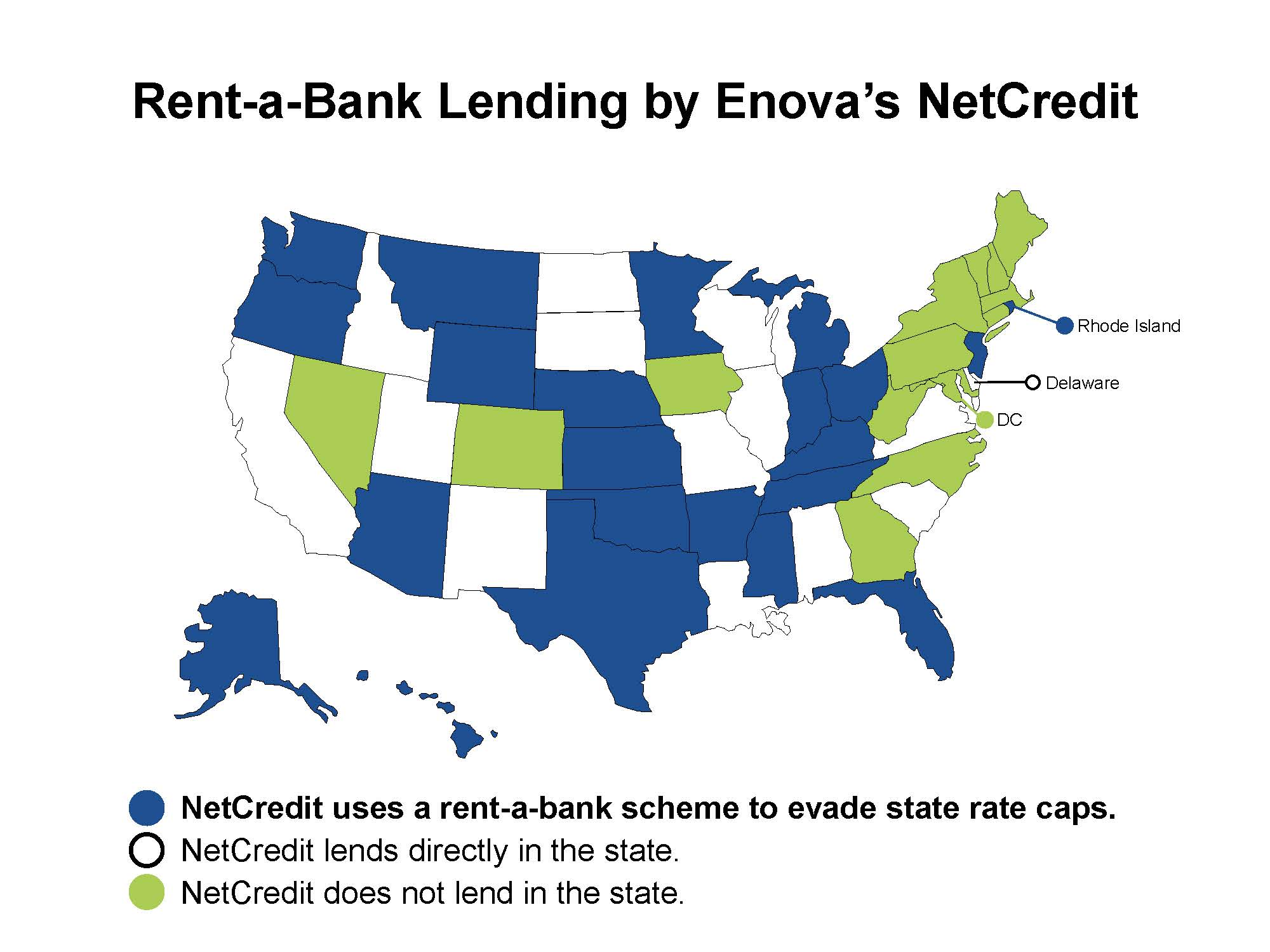 Map of the U.S. in which the states that Enova's NetCredit uses rent-a-bank schemes to avoid state rate caps are colored in blue. States in which Enova's NetCredit directly lends are white, while the states in which the organization does not lend are in green.