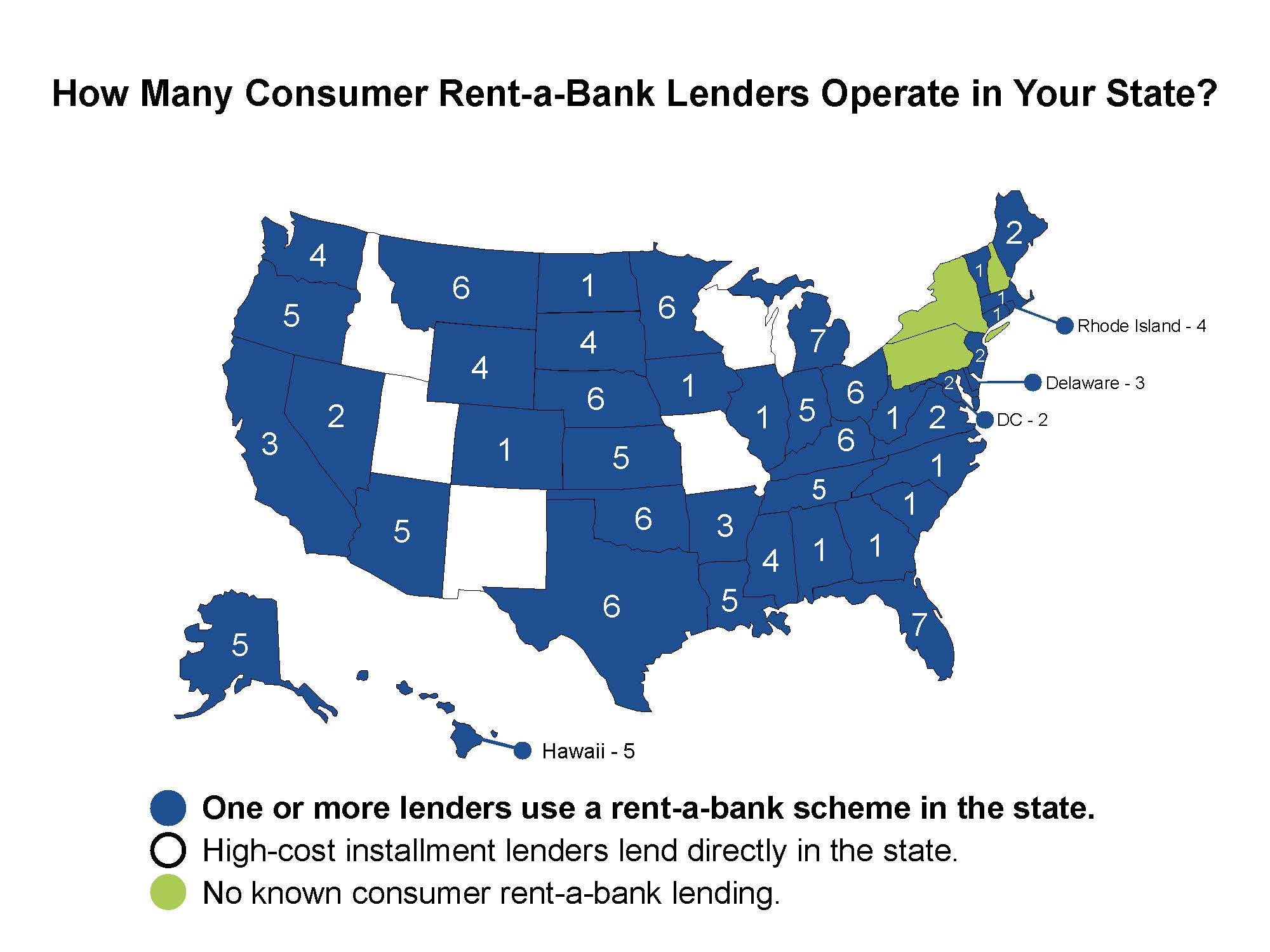 Map of the U.S. providing information on the number of Rent-a-Bank Lenders operate in each state.