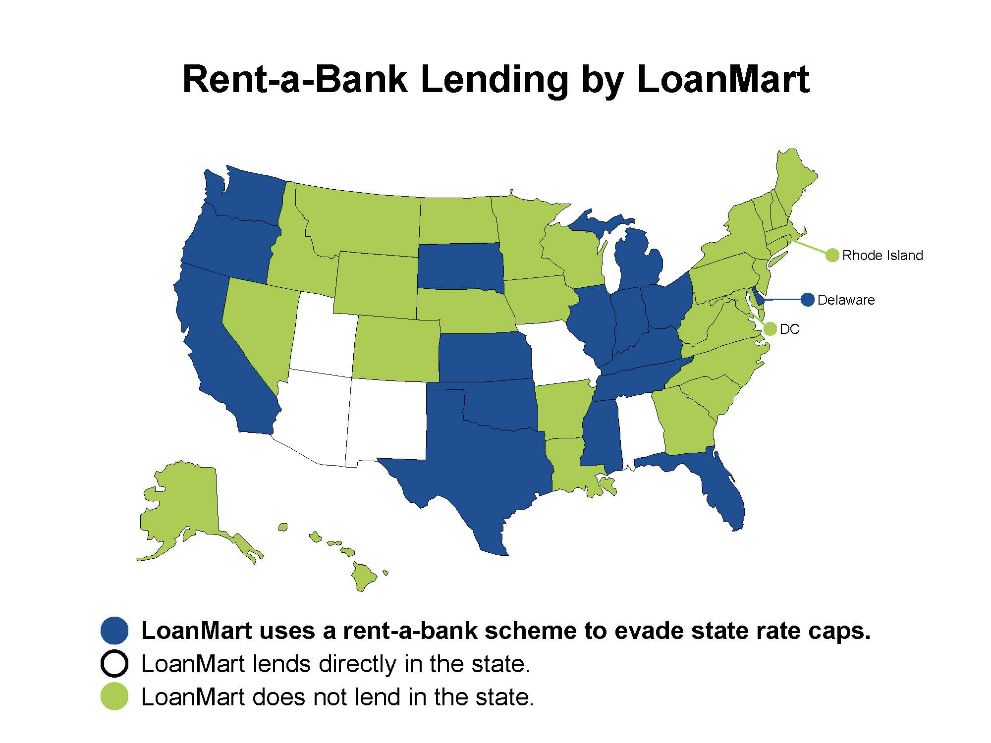 Map of the U.S. in which the states that LoanMart uses rent-a-bank schemes to avoid state rate caps are colored in blue. States in which LoanMart directly lends are white, while the states in which the organization does not lend are in green.