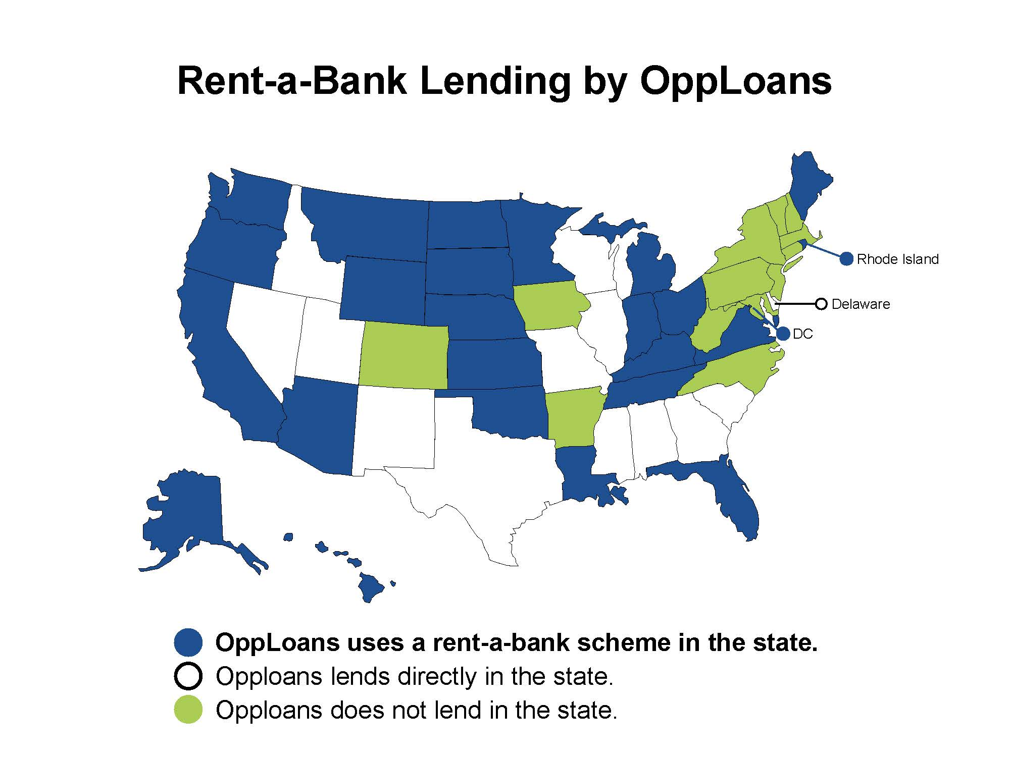 Map of the U.S. in which the states that Opploans uses rent-a-bank schemes to avoid state rate caps are colored in blue. States in which Opploans directly lends are white, while the states in which the organization does not lend are in green.