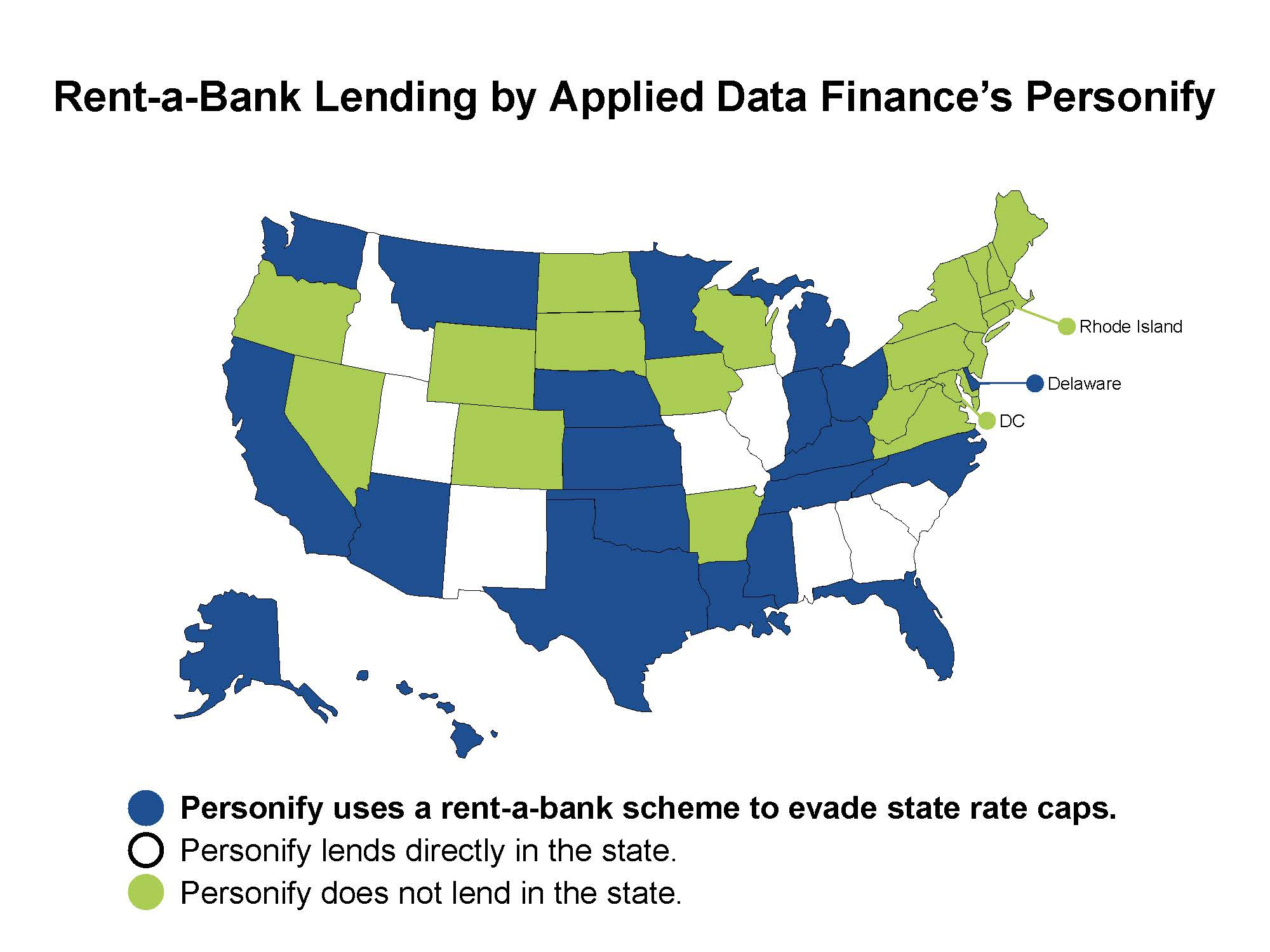 Map of the U.S. in which the states that Personify uses rent-a-bank schemes to avoid state rate caps are colored in blue. States in which Personify directly lends are white, while the states in which the organization does not lend are in green.