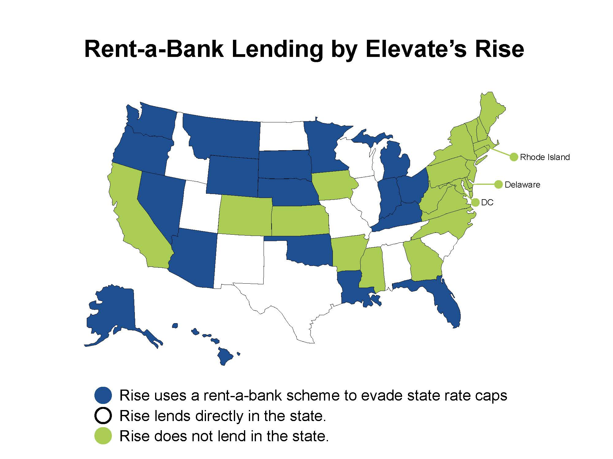 Map of the U.S. in which the states that Elevate's Rise uses rent-a-bank schemes to avoid state rate caps are colored in blue. States in which Elevate's Rise directly lends are white, while the states in which the organization does not lend are in green.