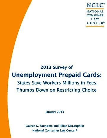 Unemployment Prepaid Cards Report 2013